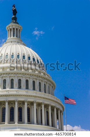 US Capitol Building on a clear day with blue sky. Senate and House of Representatives of the United States Government