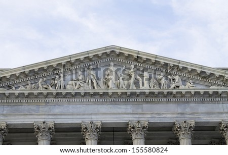 US Capitol Building - The Progress of Civilization, detail of the pediment of the east entrance of the Senate wing of the Capitol, Washington, DC, USA - stock photo