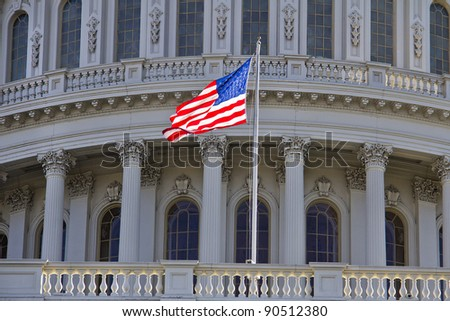 US Capitol Building, Washington DC - Close up view with US Flag