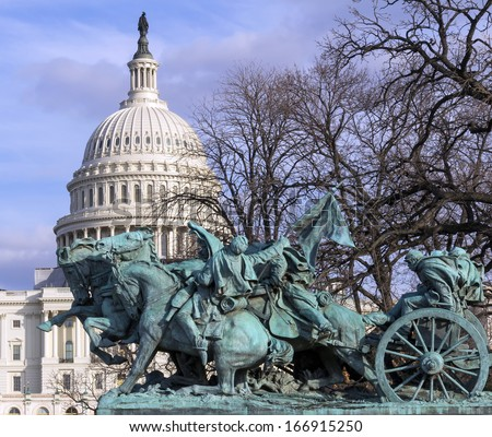 US Capitol Building with the cavalry statue in front, Washington DC - stock photo