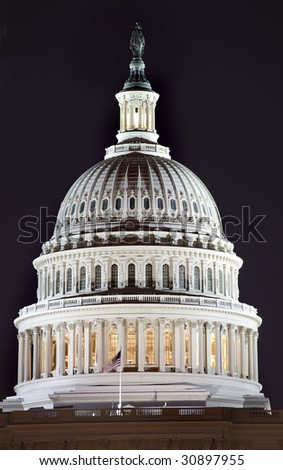 US Capitol Dome Close Up Congress House Washington DC - stock photo