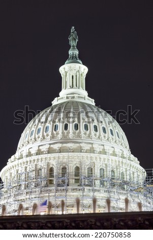 US Capitol Dome Construction Side Construction Congress House Representatives Senate Capitol Hill Night Stars Washington DC - stock photo
