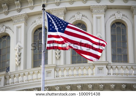 US Capitol dome detail with flag , Washington, DC, United States