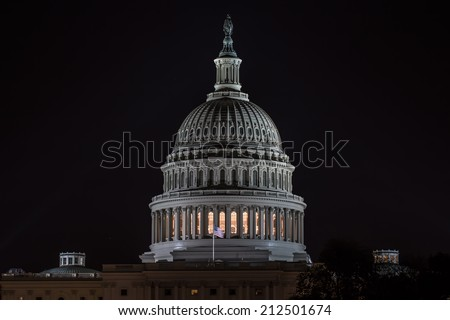 US Capitol Dome in Washington, DC at night. - stock photo