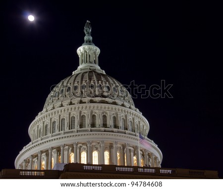 US Capitol dome with full moon - Washington DC USA - stock photo