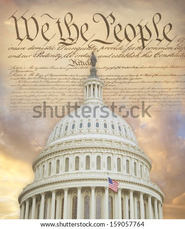 US Capitol dome with the Constitution - stock photo