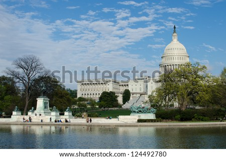 US Capitol Hill in spring - Washington DC, United States - stock photo