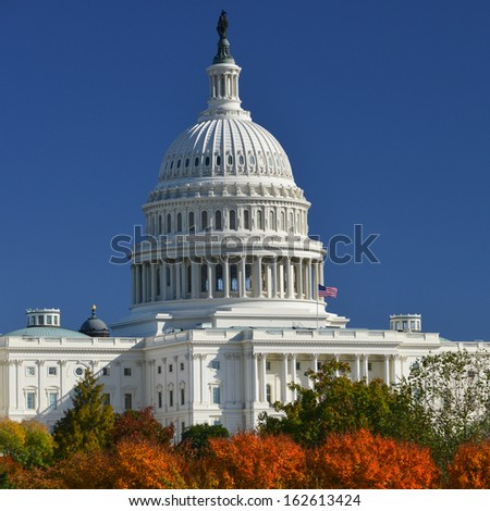 US Capitol in Autumn - Washington DC, United States - stock photo