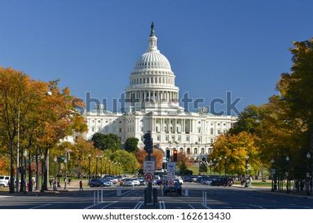 US Capitol in Autumn - Washington DC, United States - stock photo