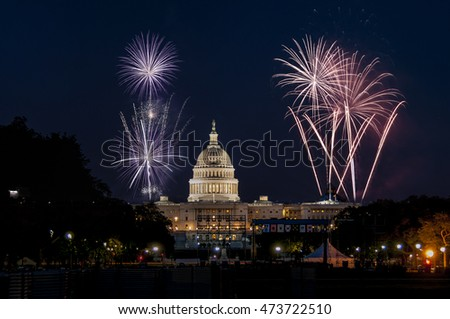 US Capitol in Washington and fireworks. Background For 4th of July