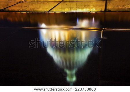 US Capitol North Side Construction Congress House Representatives Senate Capital City Night Washington DC Reflection Abstract - stock photo