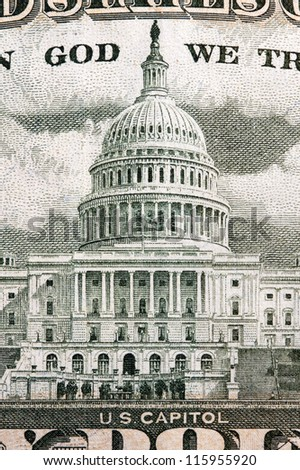 us capitol on the fifty dollar bill - stock photo