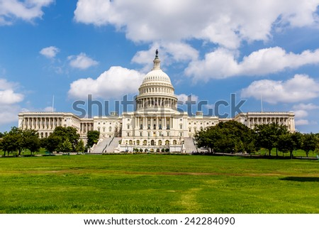 US Capitol, one of the most recognizable historic buildings in Washington DC. - stock photo