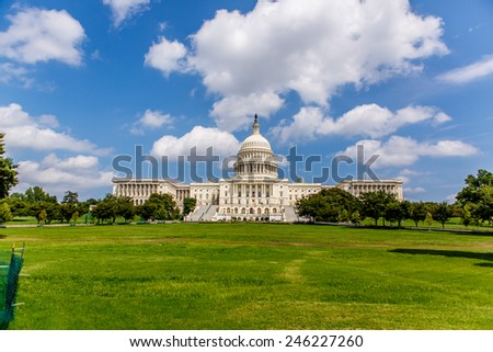 US Capitol, one of the most recognizable historic buildings in Washington DC - stock photo