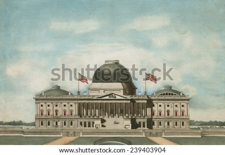 US Capitol, Washington, D.C. In the 1830s, as it was originally designed. In the 1850s a construction project enlarged the dome and extended the spaces for the Senate and House of Representatives. - stock photo