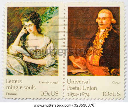 US - CIRCA 1974: A double stamps printed in US shows paintings by Goya and Gainsbourough, ceries FAMOUS WORKS OF ART, the 100th anniversary of the Universal Postal Union. circa 1974. - stock photo