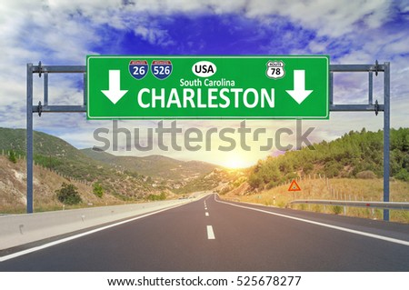 US city Charleston South Carolina road sign on highway