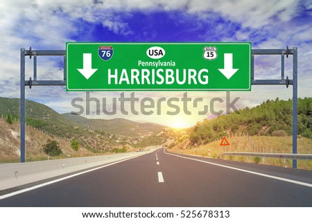 US city Harrisburg road sign on highway
