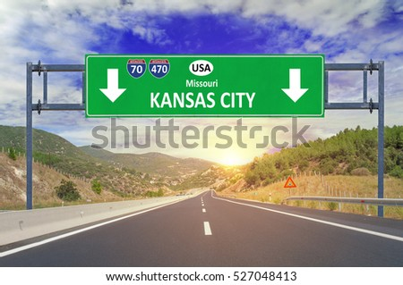 US city Kansas City road sign on highway