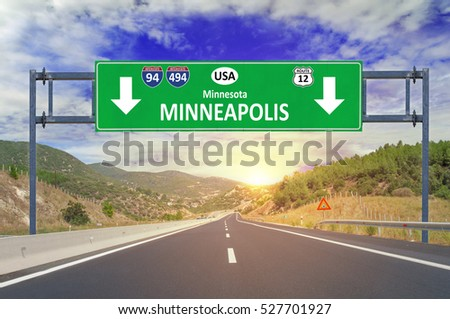US city Minneapolis road sign on highway