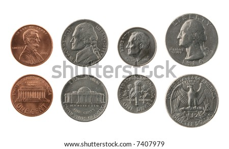 US coins collection isolated on white, obverse and reverse - stock photo