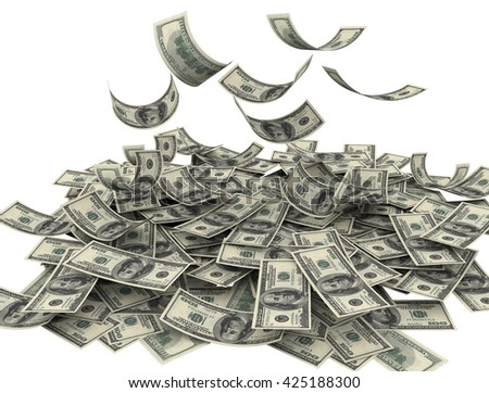 Us currency $100 both from front and back like real falling on white background. 3d rendering - stock photo