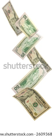 US Currency falling - stock photo