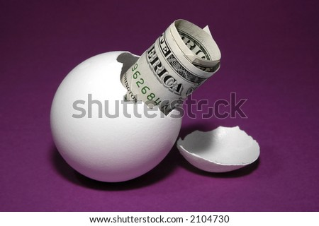 US currency in egg shell - stock photo