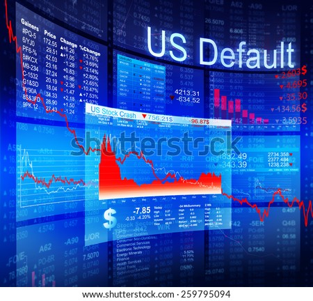 US Default Crisis Economic Stock Market Banking Concept - stock photo