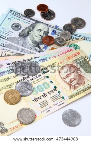 US dollar and India rupee banknote, Indian and USA economy finance trade business