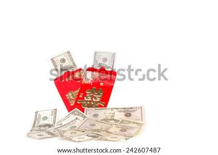 US Dollar bank note in red develop, The Chinese word mean double happiness. It is the gift in Chinese new year or Chinese Wedding day on White Isolate Background.