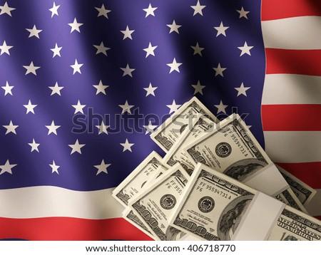 US dollar banknote bundles on textile textured USA flag. 3d illustration. - stock photo