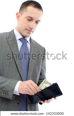 us dollar banknote in wallet - stock photo