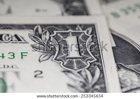 US Dollar bill, super macro, - stock photo