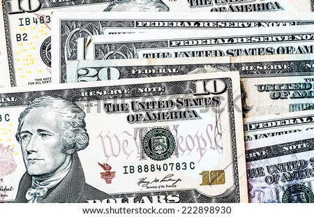 US. dollar bills background, financial concept