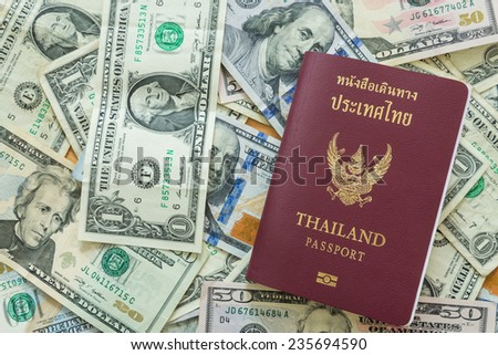 US dollar bills background passport