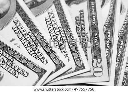 US dollar bills closeup / black and white photo