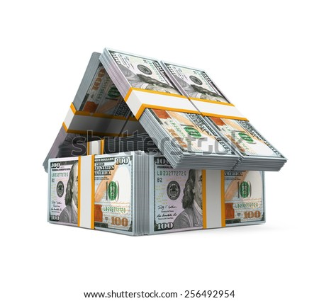 US Dollar Bills Pack Money House - stock photo