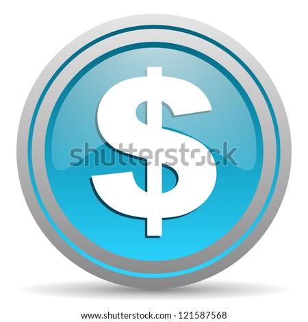 us dollar blue glossy icon on white background - stock photo