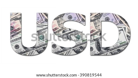 US DOLLAR from dollar banknote on white background