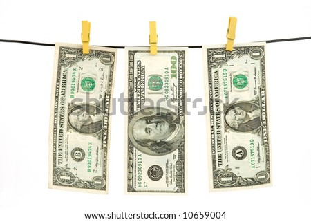 us dollar money hanging over string