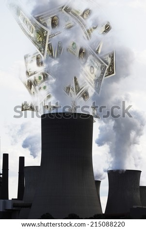 US dollar notes coming out of smoke stack