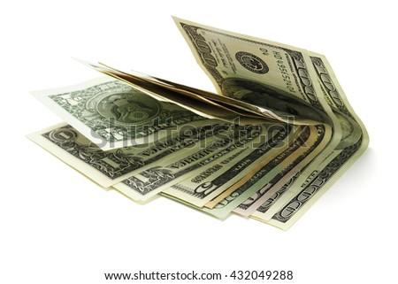 US Dollar Notes on White Background - stock photo
