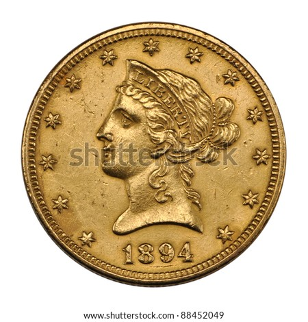 US 10 dollar - reverse Eagle gold coin 1894 - stock photo