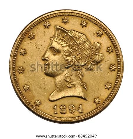US 10 dollar - reverse Eagle gold coin 1894 - stock photo