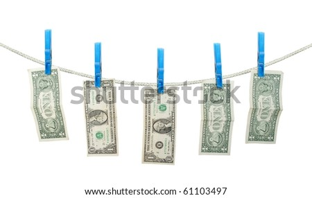 US Dollar's Hanging on Rope with Clothespins isolated background - stock photo