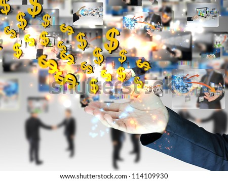 US dollar sign in hand - stock photo