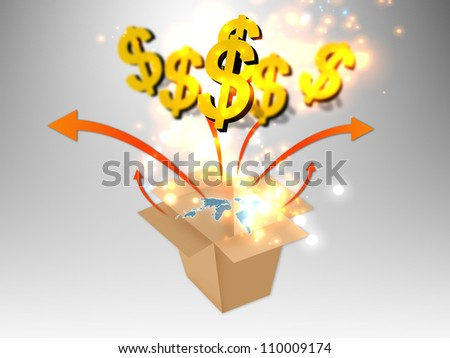 US dollar sign with world map - stock photo