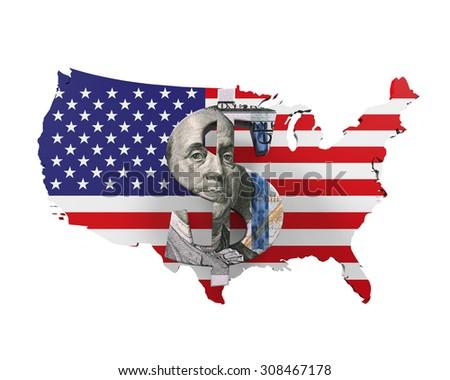 US Dollar Symbol and Map - stock photo