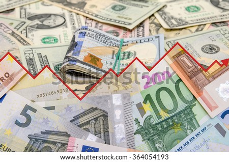 us dollar vs euro. financical concept background